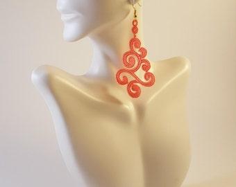 Sale 40% off Coral lace earrings Lace jewelry Statement earrings Womens Fashion Lace earrings Long earrings Drop earrings Dangle earrings