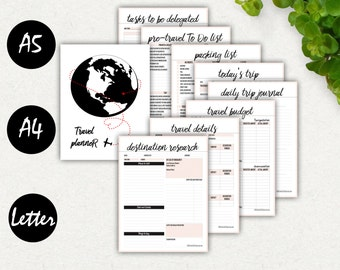 Travel Planner Printable Bundle, Travel, Trip Journal, Vacation Planner A4, A5, Letter, Packing List, Travel Checklist, Itinerary, Budget A5