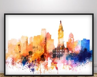 Philadelphia Skyline, Print, Watercolor Painting, Pennsylvania Print, Cityscape, City Poster, Wall Art, Home Decor