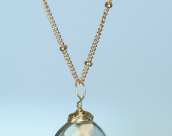 Lemon smoky quartz faceted teardrop necklace. Made in USA. Ships immediately. Free shipping within USA.