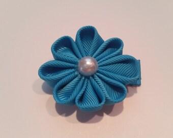 Turquoise Kanzashi Flower Hair Clip