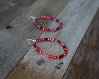 Red Beaded Hoop Earrings, Beaded Hoop Earrings, Teardrop Beaded Earrings, Red and Silver Hoops, Large Beaded Hoops, Boho Earrings