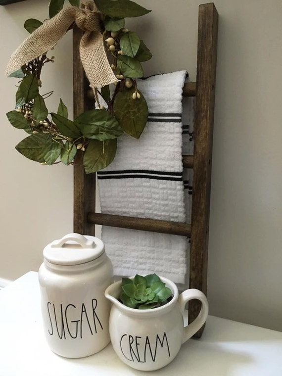 Mini Ladder Farmhouse Decor Kitchen Decor Bathroom Decor Farmhouse Ladder Rustic