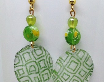 Graphic Green Shrinky Dink Earrings, Shrinky Dink Earrings, Shrinky Dink and Millefiori Bead Earrings