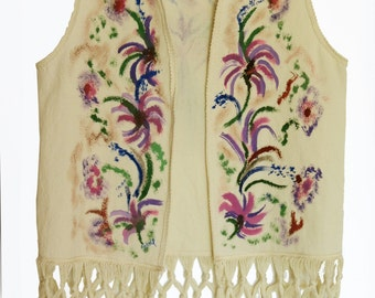 Painted fringed vest