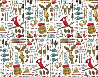 Winter Adventure Moose Quilting Fabric. Fabric by the Yard. Cotton Knit Jersey Minky Woodland Camp Forest Fishing Winter Mountains Kids Baby