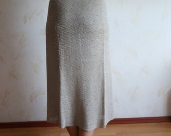 Vintage linen skirt - natural knitted linen maxi tube skirt - long skirt - straight cut skirt - eco skirt - linen maxi skirt - linen midi