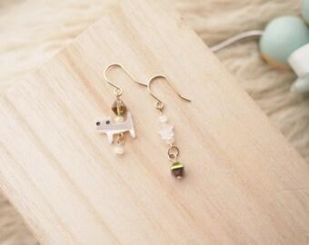 Little Cat Asymmetric Drop Earrings,Little Cat Drop Earrings,Cat Dangle Earrings,16K Gold Plated Earrings