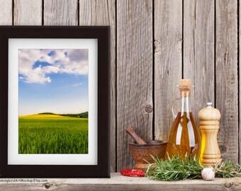 Framed Photo Art Mockup (Styled Stock Photography) on Wood Kitchen Shelf, Portrait Orientation, Dark Wood Frame White Mat, JPG, PNG files