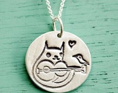 Guitar CAT NECKLACE - silver guitar necklace, acoustic guitar jewelry cat necklace guitar pendant - rock music, indie band necklace