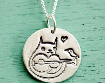CAT GUITAR Necklace, guitar jewelry, sterling silver cat necklace, guitar pendant, guitar gifts, cat pendant necklace, gift for music lover