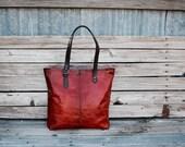 Leather Tote Bag / Burnt Orange Market Tote / Large Leather Tote Bag / Fall Tote / Handmade Leather Bag / Feral Empire