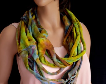 Scarf Infinity Tube Long Soft Knit Hand Dyed Reclaimed T-shirts Muted Green Chartreuse Blue Gray