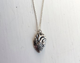 Anatomically correct heart necklace, sterling silver heart necklace, heart organ necklace