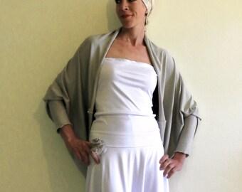 Maxi jersey shrug, bridal gray cardigan, oversize shrug cardigan, extra long sleeves, pearl gray jersey