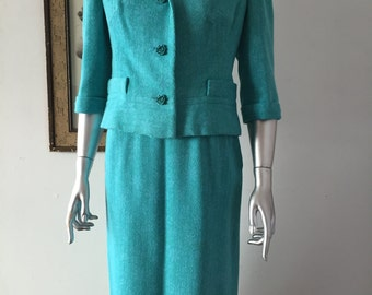 Sorelle Fontana 1960s Floral Zig Zag Turquoise Wool Skirt Suit