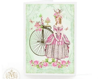 Marie Antoinette, greeting card, penny farthing, vintage tea party, macaron, vintage bicycle, butterfly, rose, teapot, teacup, birthday card