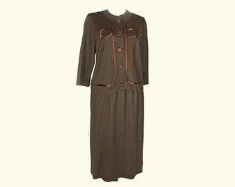 Vintage Women's Suit, 1960's, Brown Polyester, Satin Trim, Boxy Jacket, Collarless, Three Quarter Sleeves, Small/Medium