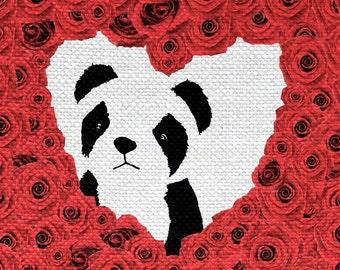 Roses For Panda Print - Mixed Media Art 8 x 10 Print
