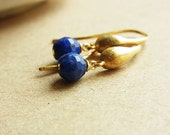 Lapis Brushed Gold Teardrop Ear-rings // Faceted Lapis Lazuli Round Beads // 16K Gold Plated Hook Ear-wires (One Pair)