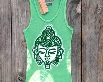 Meditation Buddha head womens yoga top, batik tie dye ribbed tank top, apple green hand dyed top, tops & tees, gift for her, green yoga top