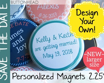 50 Wedding Save the Date Magnets - Custom 2.25 Inch Round