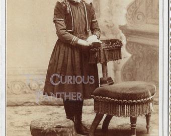 Antique Victorian girl studio photo