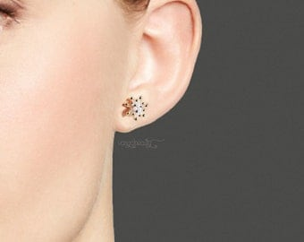 18k Gold Plated Sterling Silver chrysanthemum flower pearl CZ stud earrings