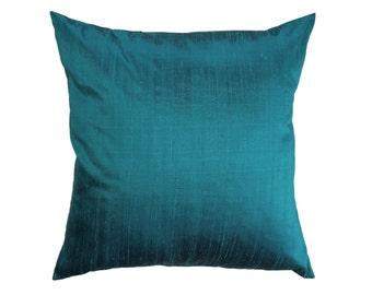Turquoise Pillow Cover -- Silk Dark Turquoise Throw Pillow Cover -- Aquamarine Silk Cushion Cover -- 16 x 16