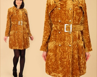 ViNtAgE 60's 70's Gold CRUSHED VELVET Jacket Coat MoD Swing // Double Breasted With Belt // Belted