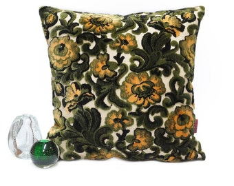 Luxury Chenille Velvet Floral Couch Pillow - Handmade with Love from vintage upholstery fabrics by EllaOsix