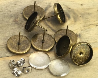 10 PAIRS - 12mm Antique Bronze Bezel Earring Kit - INCLUDES Glass - Bezels - Backs - Ready to Ship from USA - Patina Queen