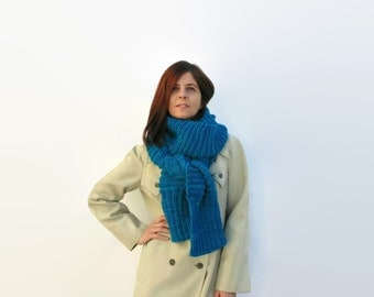Turquoise Wool Chunky Hand Knit Scarf, Man, Long, Womens Scarves, Neck Warmer, Winter Scarf, Wrap Scarf, Fashion Scarf, Chunky Scarf, branda