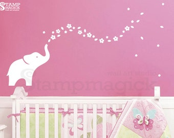 Elephant Wall Decal Flowers for Baby Girl Nursery - Vinyl Wall Art for Baby's Room - K341