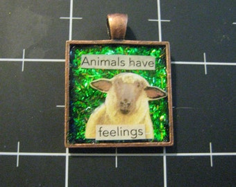 "Animals Have Feelings, Too Series: Sheep Pendant, ""Animals Have Feelings"", 50% goes to the charity of the month"