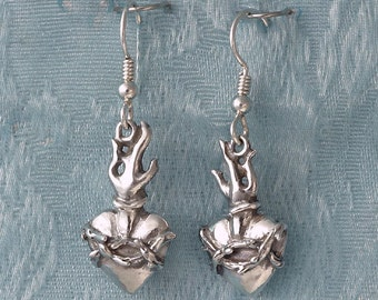 Sacred Heart Sterling Silver Earrings