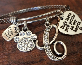 Animal lover jewelry, Dog Mom, Dogs leave paw prints on our hearts, INITIAL jewelry, Bangle bracelet, INITIAL jewelry, charm bracelet