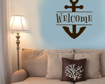 """Welcome Decal, Anchor Wall Decor, Beach Decorations, Wall Accent, 14"""" X 16.5"""", Nautical Vinyl Wall Decals, Vacation Beach House gift"""