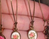 Painted Flower Cameo Earrings, dangling kidney wires