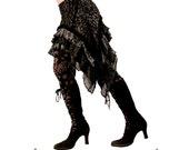 Over Skirt, Black, Silver, Ruffles, Cabaret, Vaudeville, Steampunk, Noir, Gothic, Vampire, BellyDance, Dark Fusion Boutique