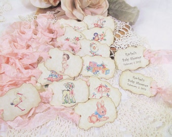Vintage Style Baby Girl Shower Favor Tags - Parchment Double Sided Customized Personalized - Set of 18 -Choose Ribbons- it's a girl sprinkle