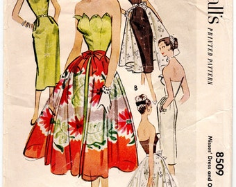 "ORIGINAL Vintage Sewing Pattern 1950's Ladies Dress McCall's 8509 Size 32"" Bust - Free Pattern Grading E-book Included"