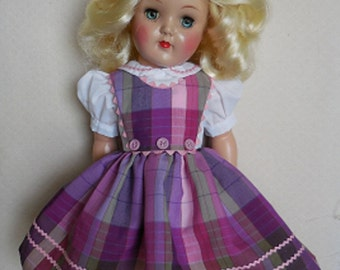 "For 19"" Ideal P-92 Toni Doll - Three Button Jumper Dress Inspired by Original"