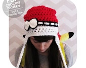 crochet pattern - The Original pokemon pokeball inspired earflap slouchy beanie hat with bow - INSTANT DOWNLOAD PDF - not a finished item
