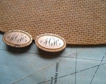 victorian script monogram MH MJC gold filled scatter pins - dapper gentlemen fathers day gift - antique jewelry