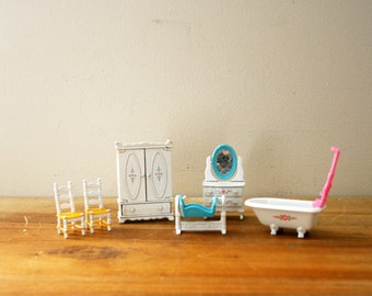 vintage 80s Mattel The Littles Doll Die Cast Metal Doll Furniture 1980 // 6 Pieces // Armoire Vanity Chairs Cradle & Bathtub