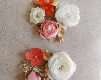 floral hair clips, floral hair pins, gold hair piece, orange hair flower, ivory hair flower, fall wedding hair accessories, autumn wedding