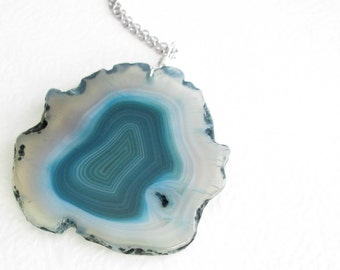Teal Agate Slice Necklace, Blue Green Stone Pendant, Peacock Agate Jewelry