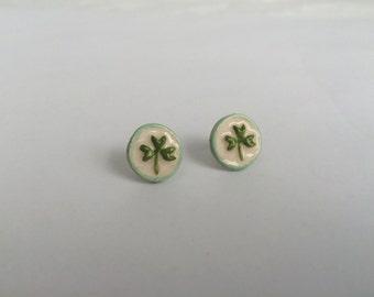 Shamrock stud earrings, handmade ceramic