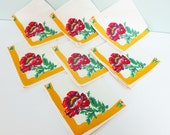 Set of 7 Vintage Luncheon Napkins with Red Flowers, Green Leaves and a Yellow Border